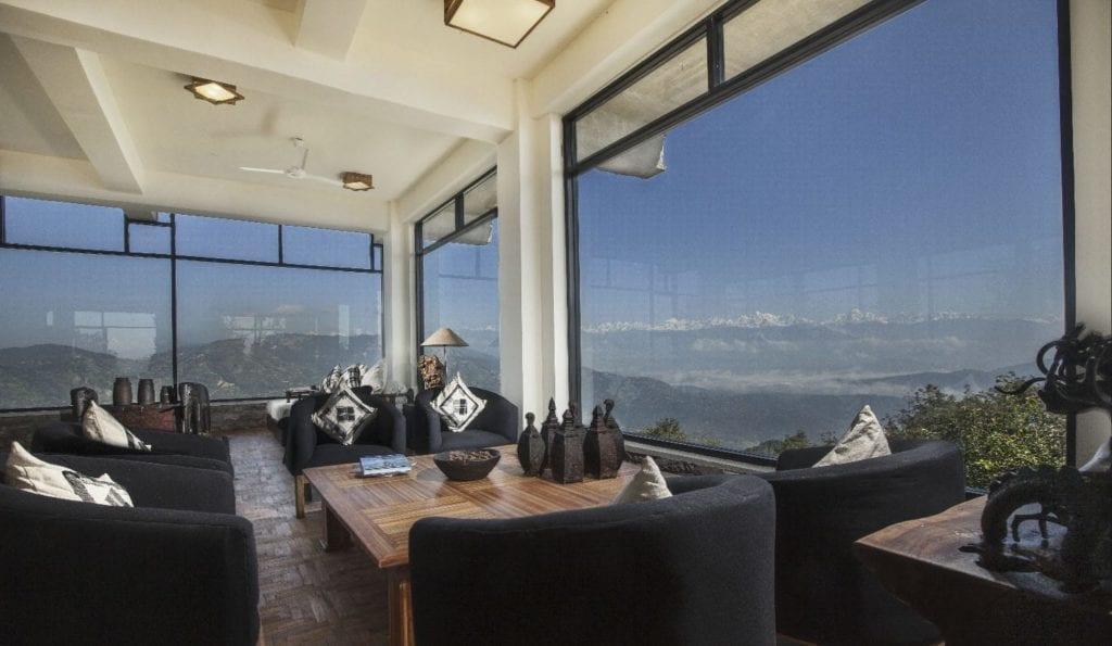 Zero Zone Tea Lounge with views at Dwarikas Resort in Nepal