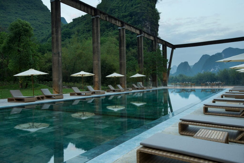 day time outdoor pool Alila Yangshuo