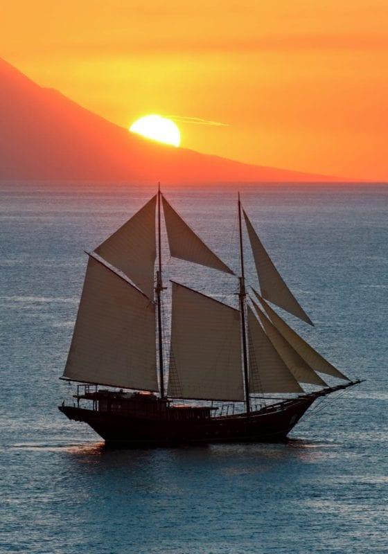 amandira yacht indonesia sunset