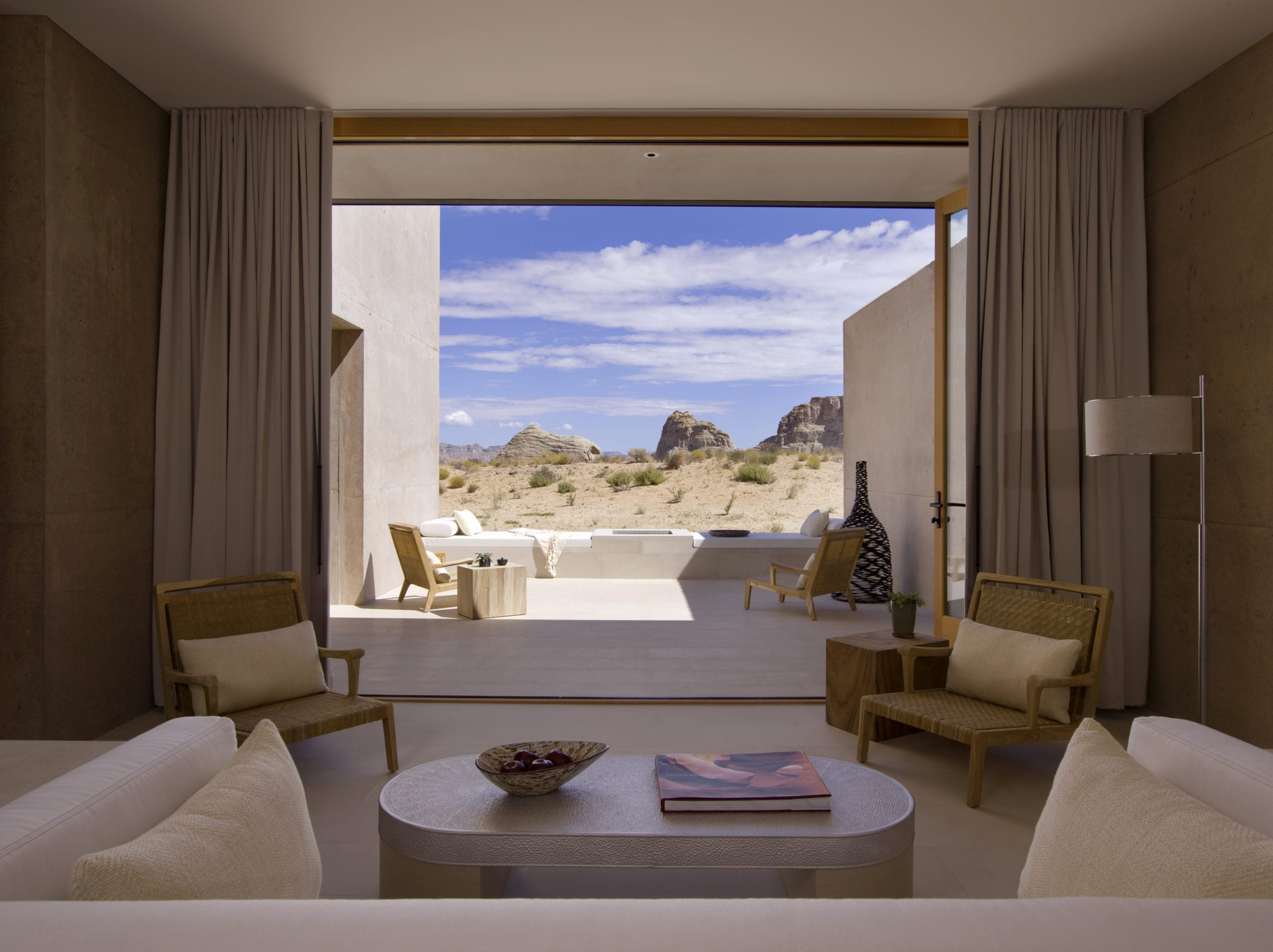 Interior of Suite Room with View to Desert Amangiri USA