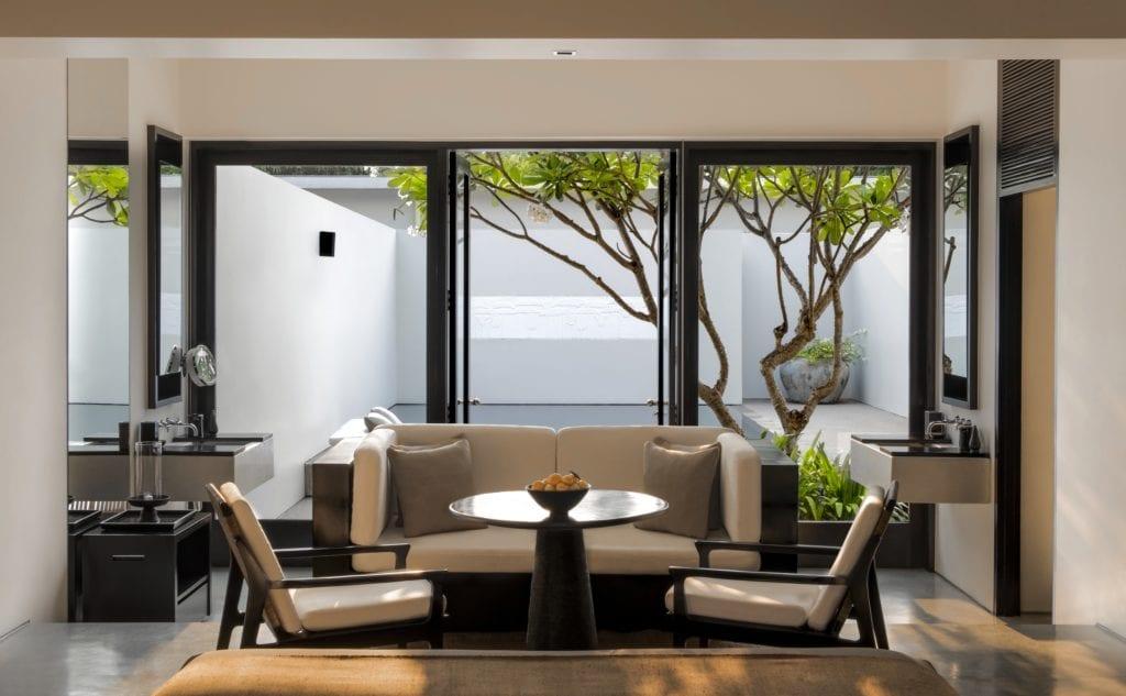 interior of amansara pool suite