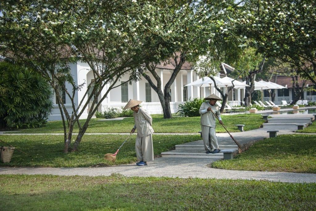 gardeners outside amantaka
