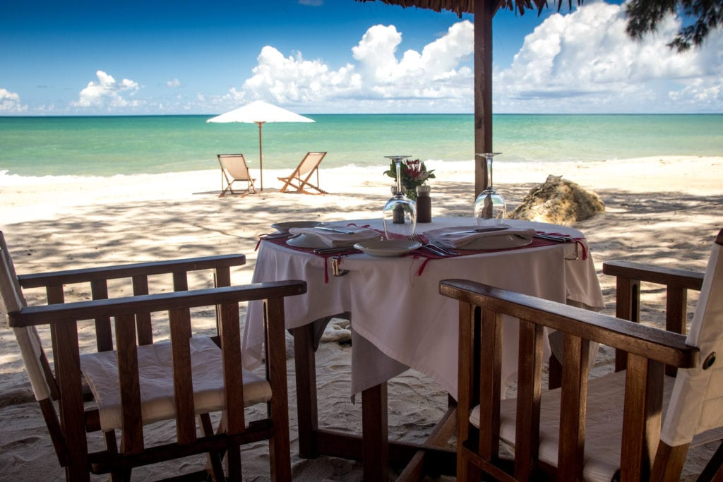 beach dining at anjajavay lodge
