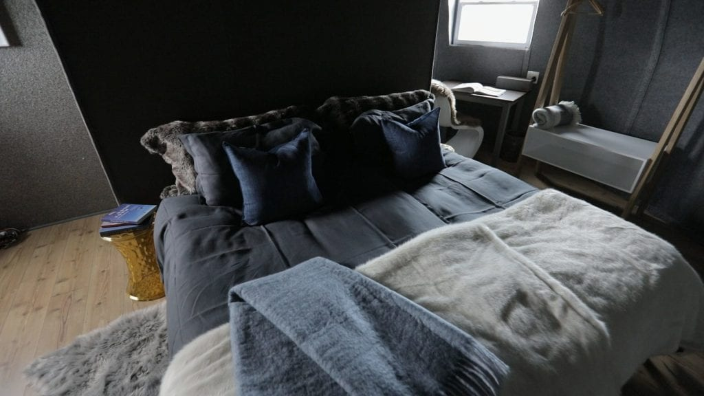fur covered bed inside Whichaway Camp Antarctica