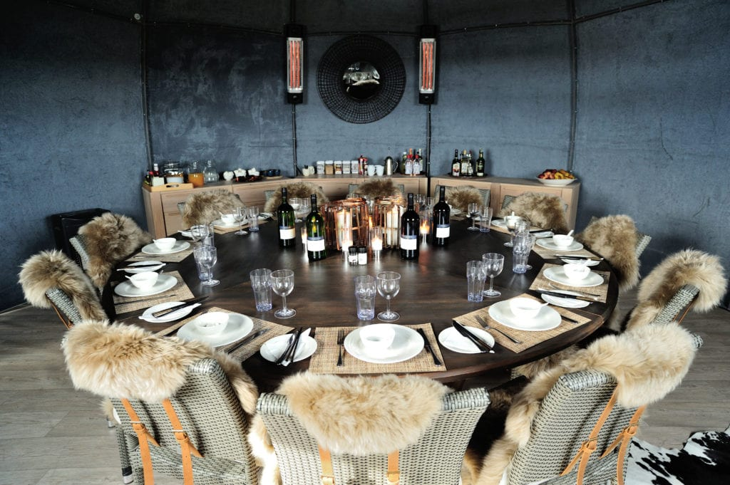 Dining table at Whichaway Camp in Antarctica