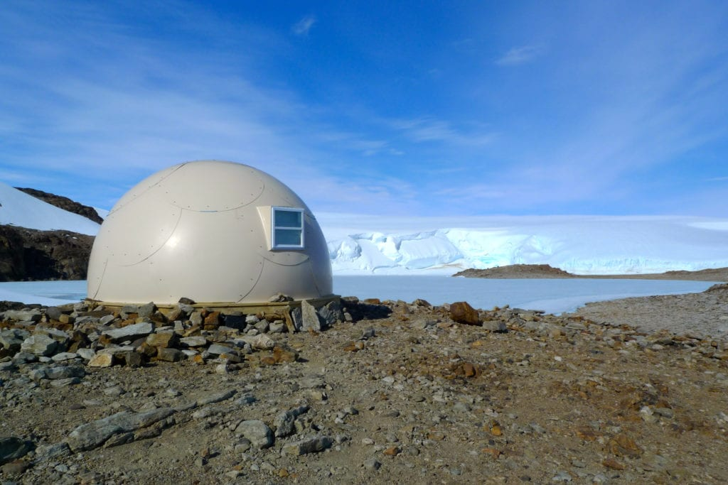 Exterior of pod at Whichaway Camp in Antarctica