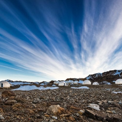 Wide angle shot of Whichaway Camp Antarctica