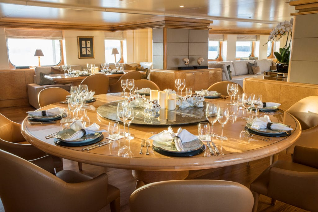 aqua blu yacht interior dining