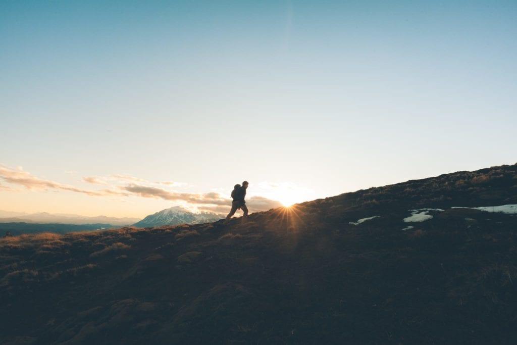 Hiker on horizon in Argentina