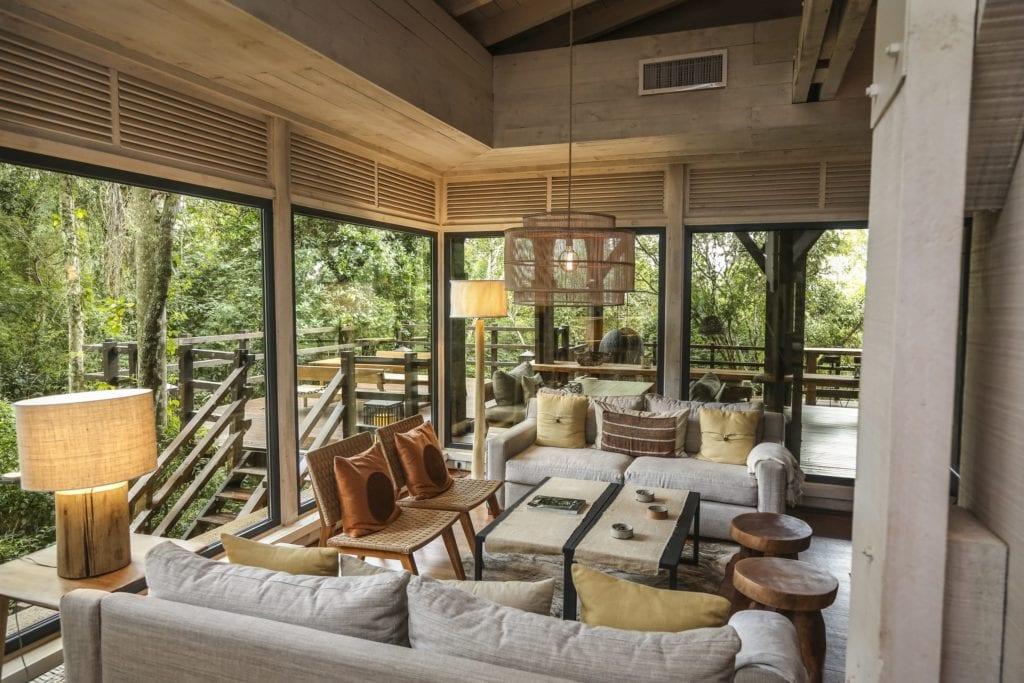 Seating area in main lodge at Awasi Iguazu Argentina