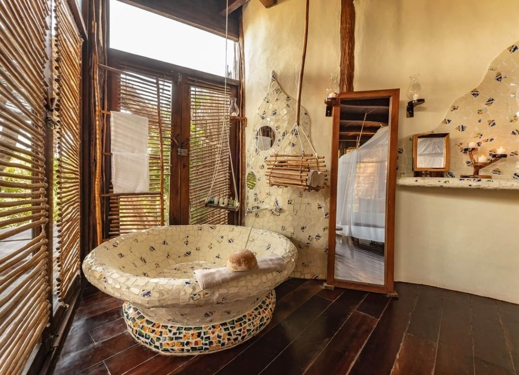 azulik bathroom mosaic bathtub