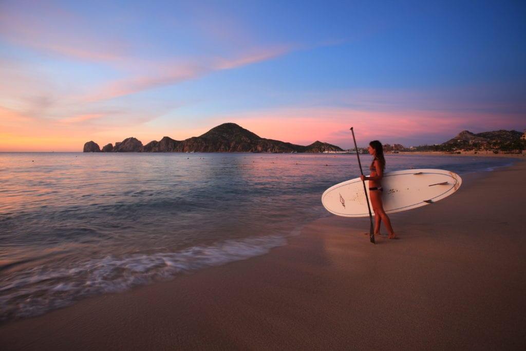 Baja California beach paddle boarding