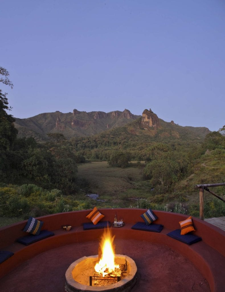 outdoor fire pit at Bale Mountain Lodge