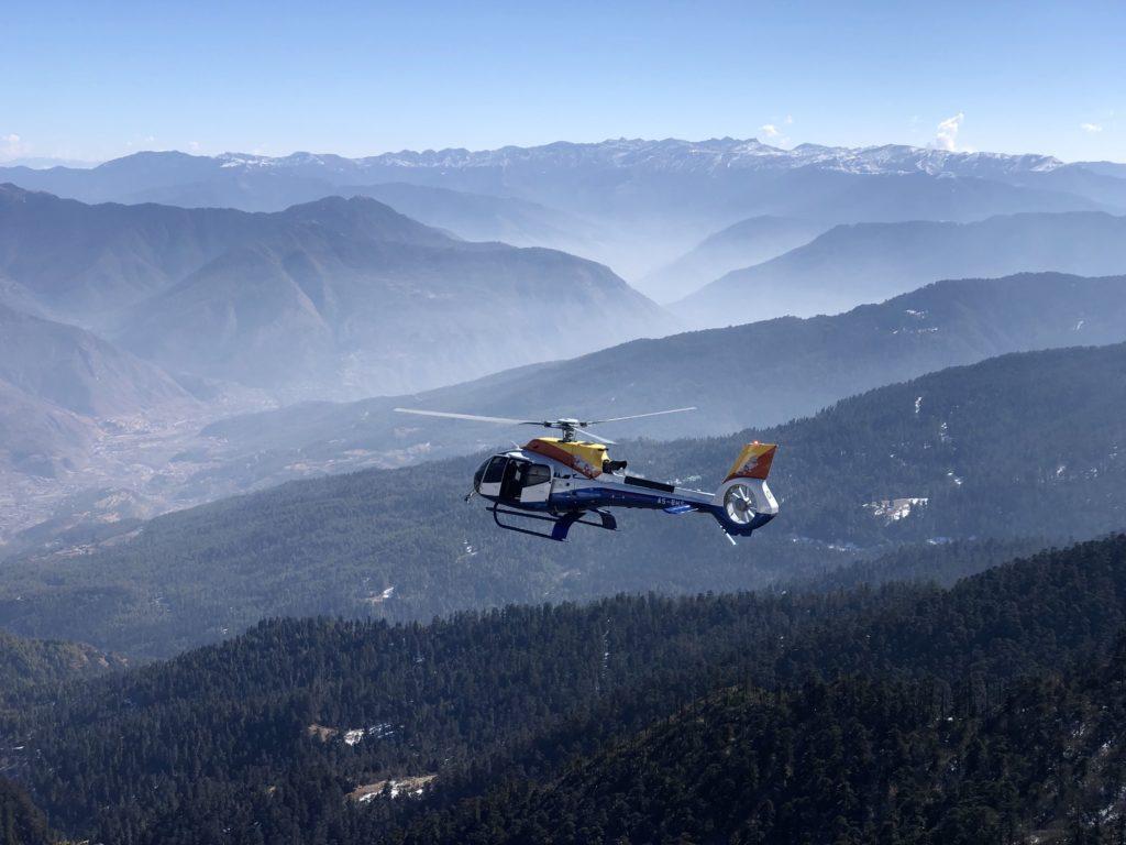 Heli over mountains in Bhutan