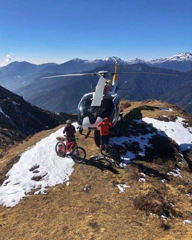 Helibiking Bhutan mountains