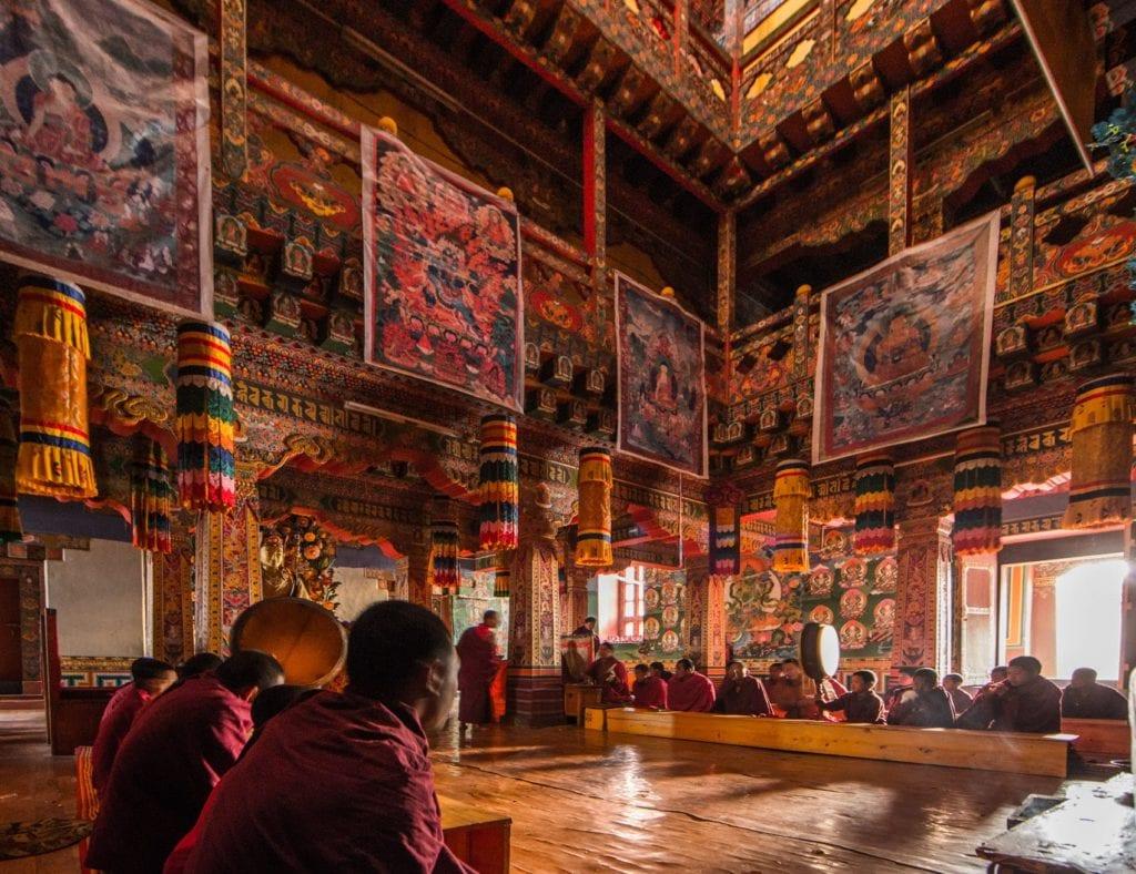 temple interior in Bhutan