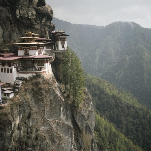 Tiger's Nest monastery cliff side Bhutan