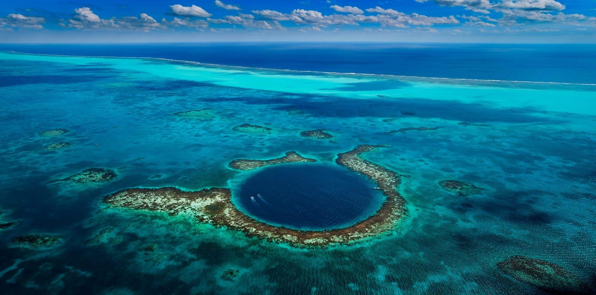 belize blue hole aerial view