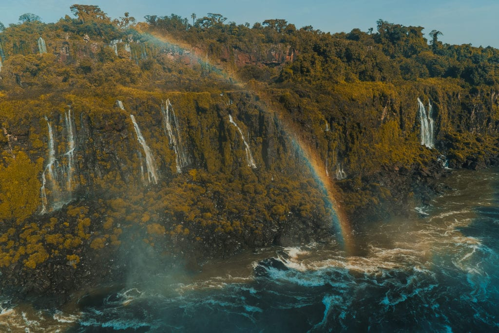 rainbow over waterfall Brazil