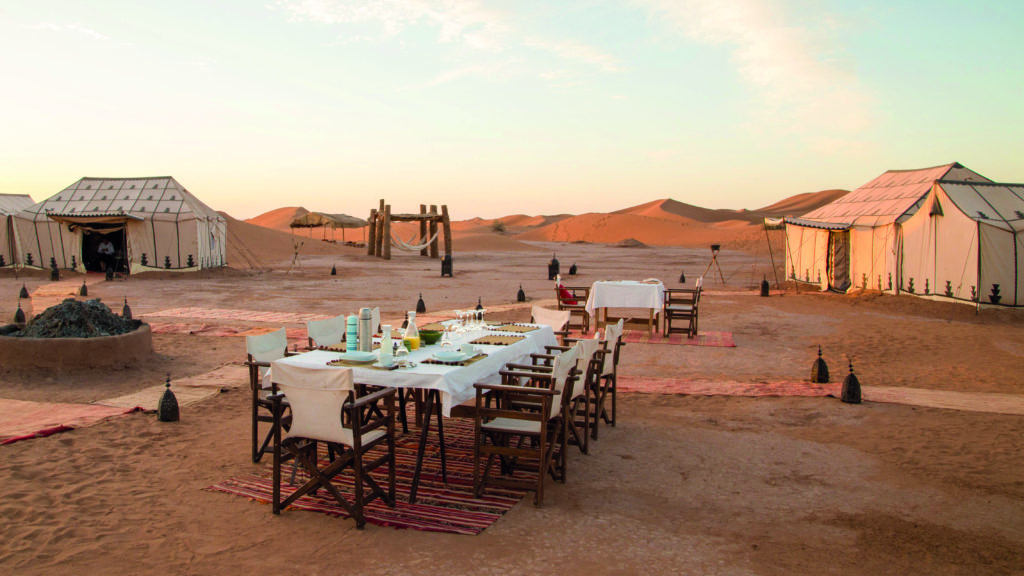breakfast display at remote desert camp morocco