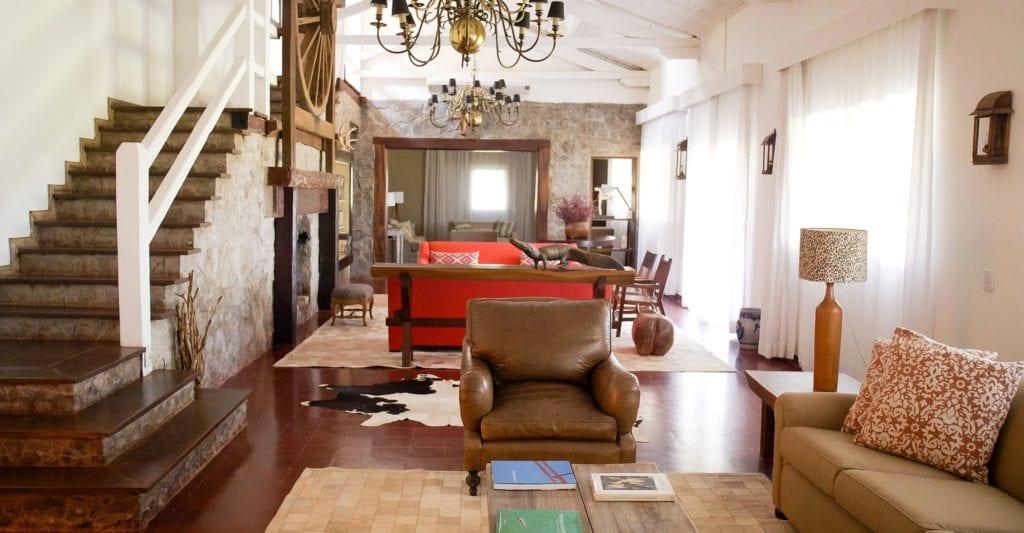 Interior of living room at Caiman Ecological Refuge Brazil