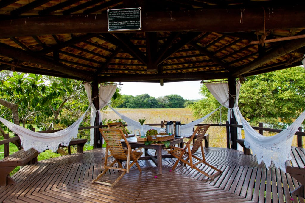 Exterior hammocks at Caiman Ecological Resort Brazil