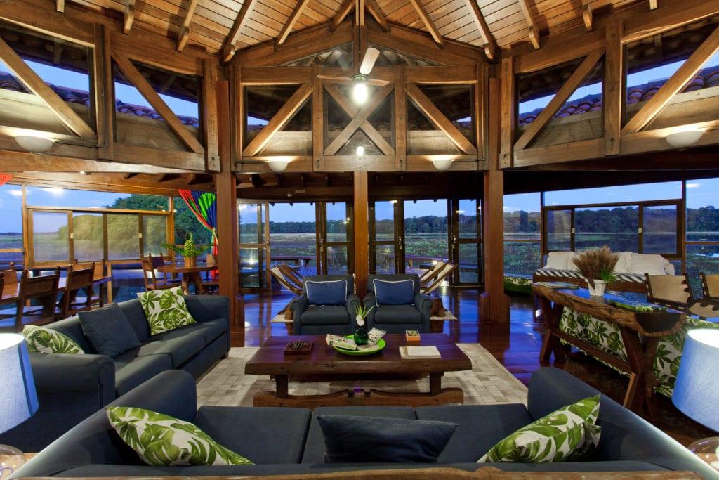 Indoor seating Caiman Ecological Refuge Brazil