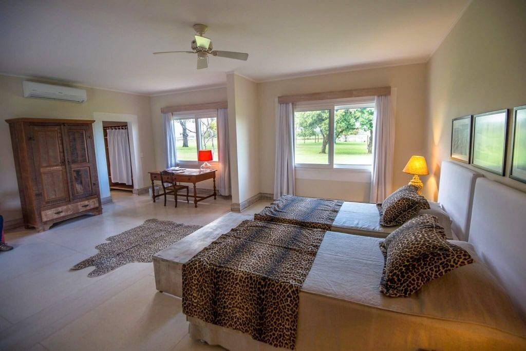 Twin bedroom interior at Caiman Ecological Refuge Brazil