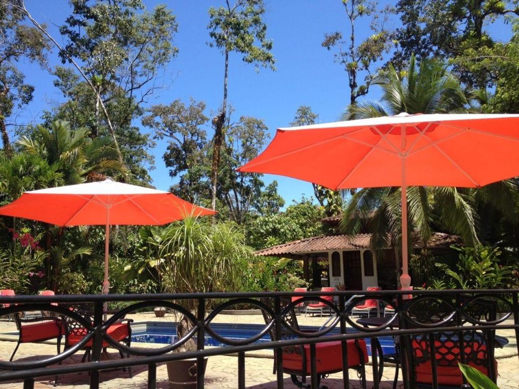 sunshades by pool at Casa Corcovado