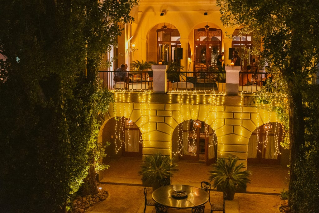 Fairy light exterior of Cavas Wine Lodge