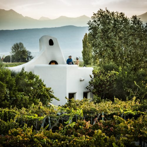 Cavas wine lodge with mountain backdrop
