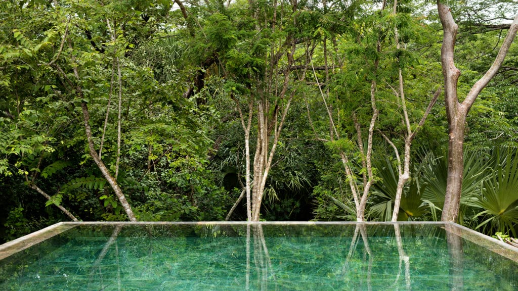 chable yucatan pool and trees