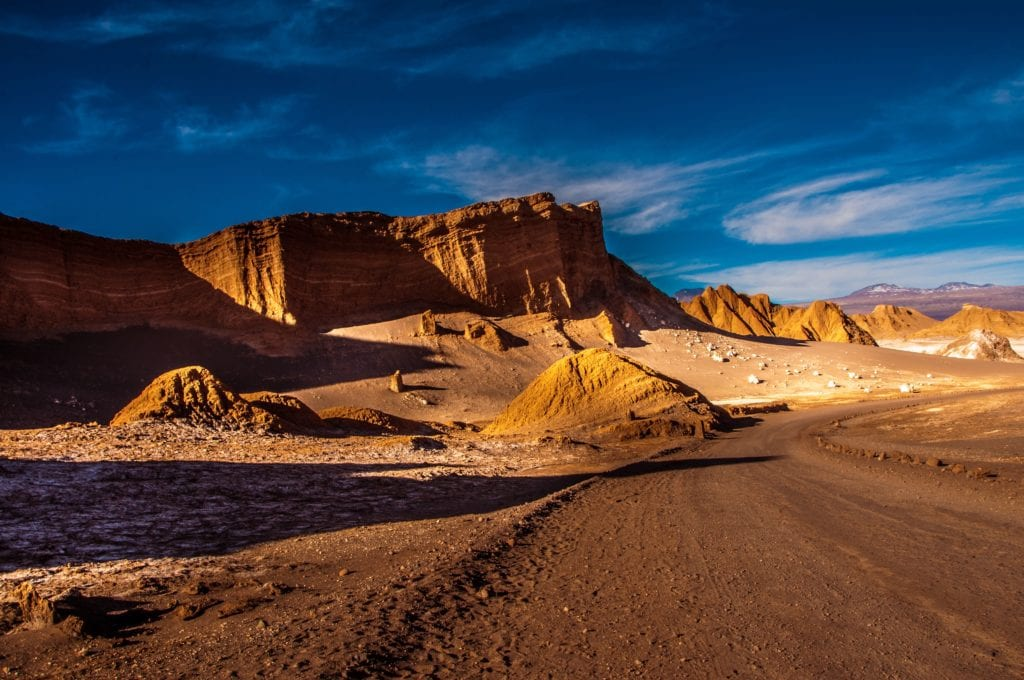 The sandy landscape of a desert in Chile