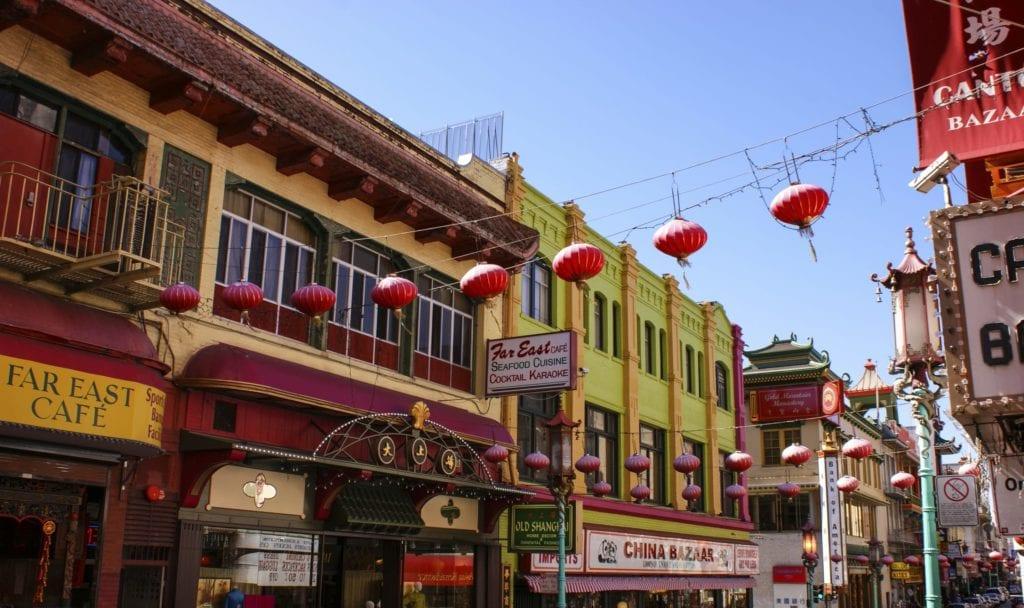 Lanterns hanging above China Town