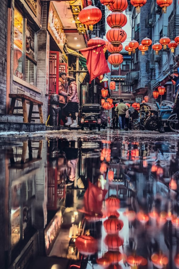 Reflections in a Chinese town