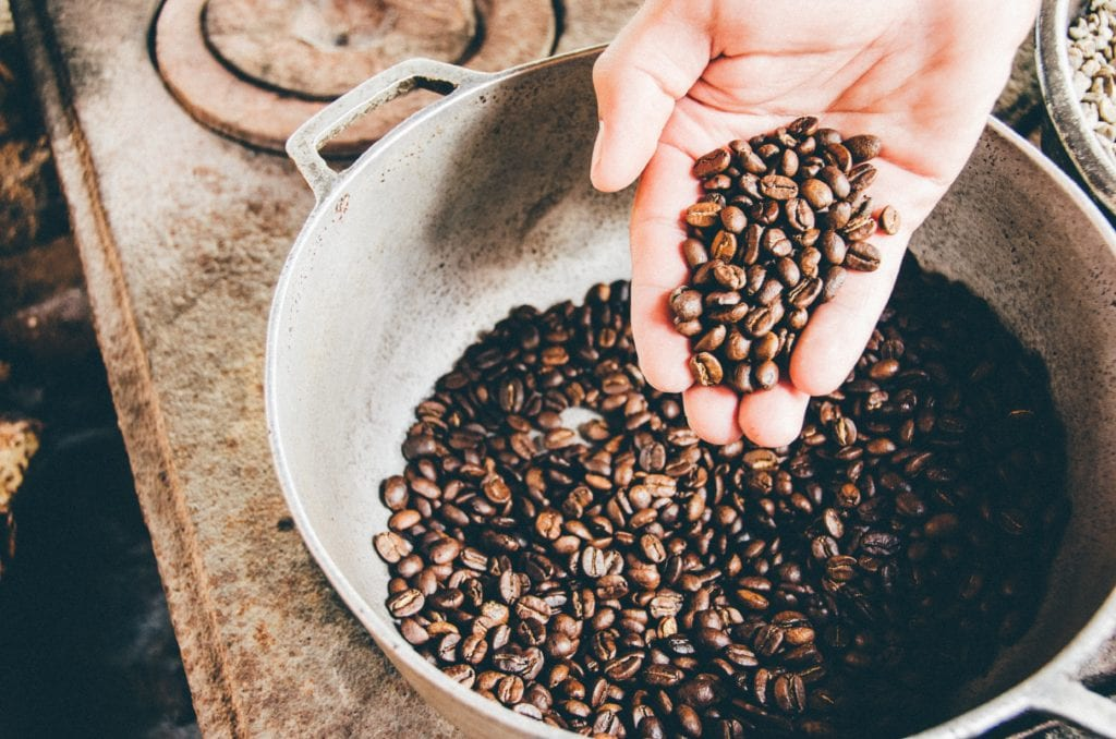 Handful of Colombian coffee beans
