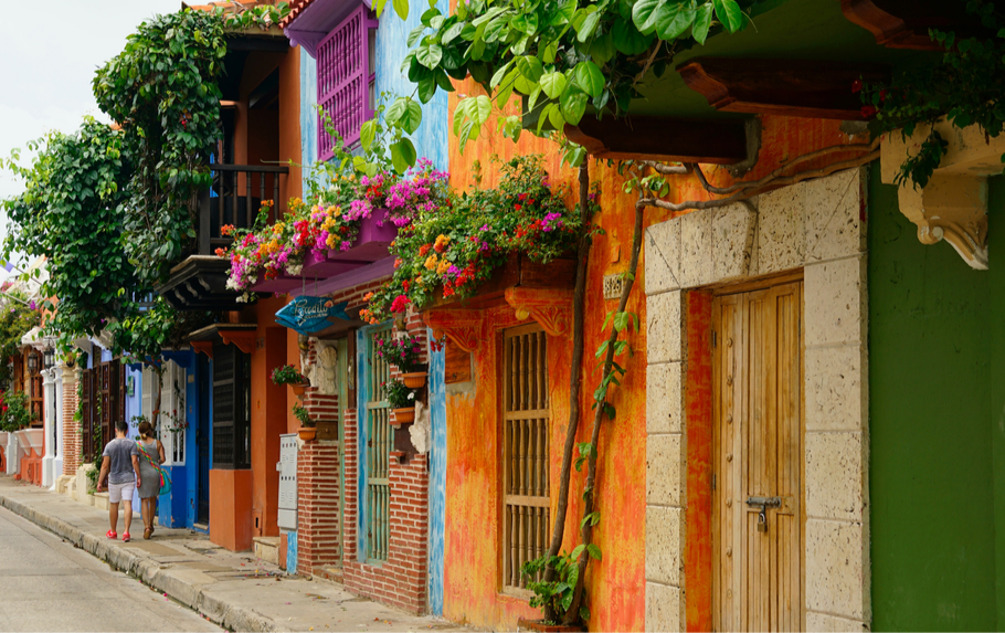 Colourful colonial houses in Cartagena, Colombia