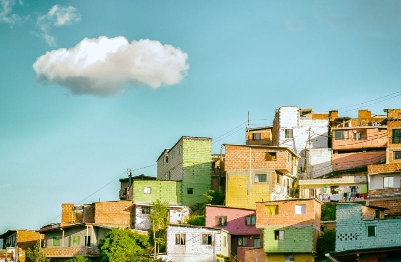 Pastel coloured Medelin houses on the hillside, Colombia