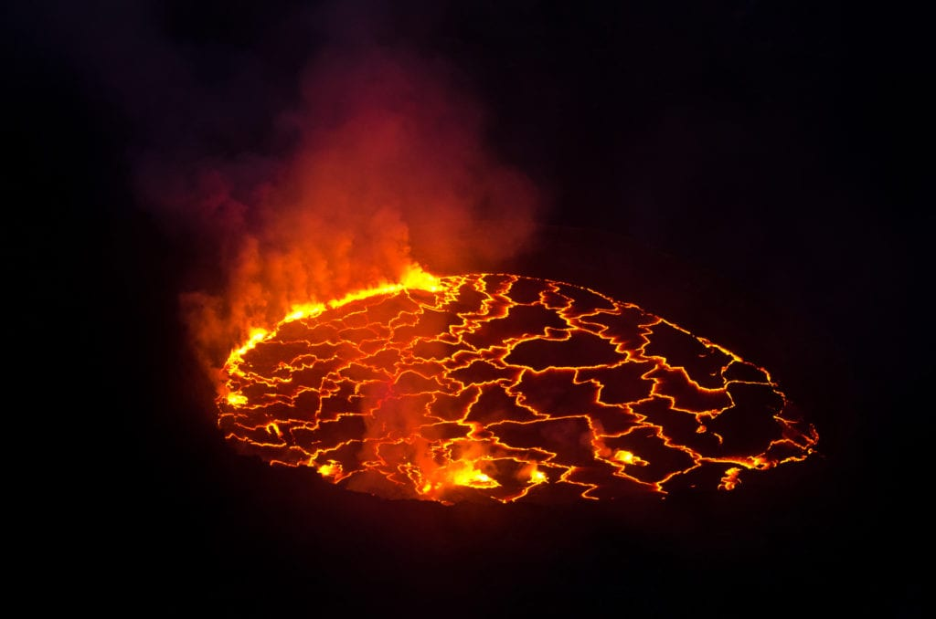 Nyiragongo Volcano crater in Congo