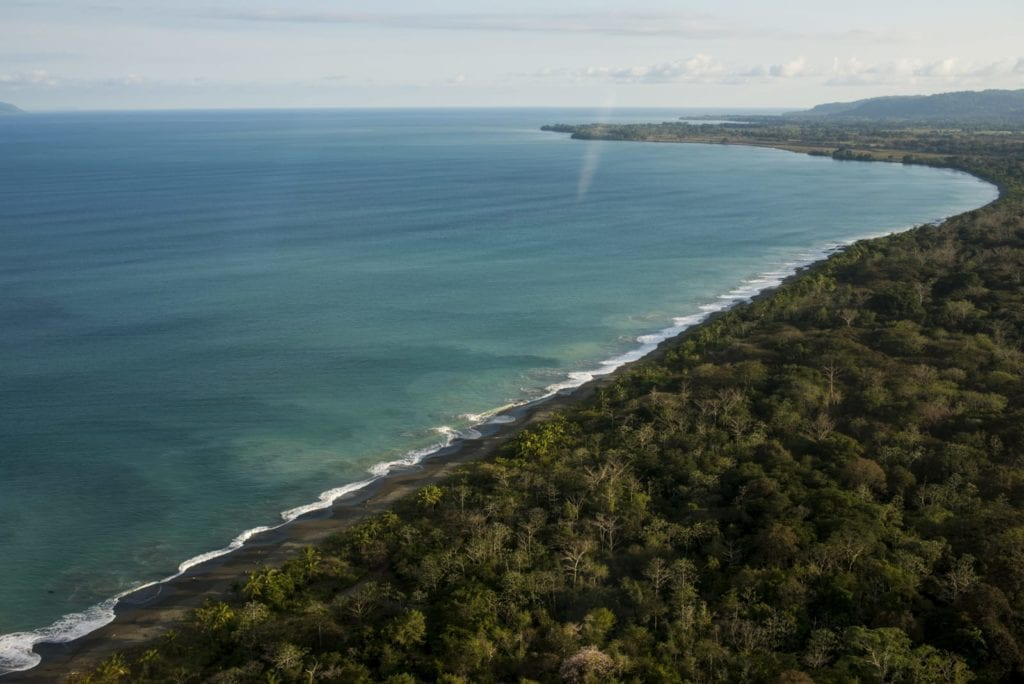 Costa Rica aerial sea and jungle