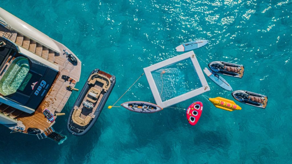 db9 yacht charter water toys