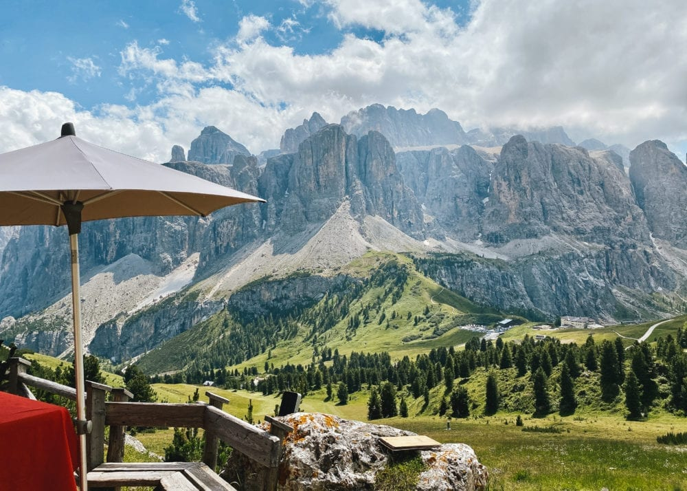 Dolomites cafe with a view