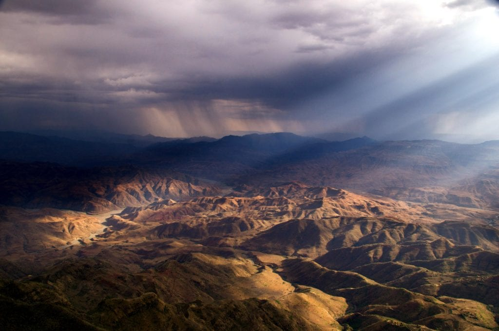 Sunlight on Ethiopia's mountainous land