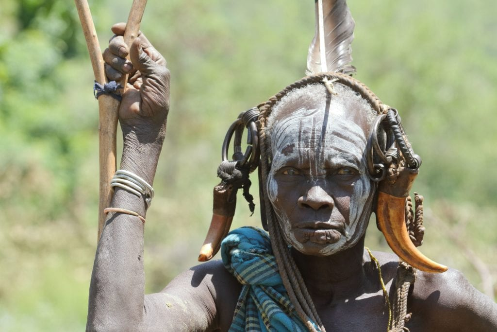 Ethiopian Tribal man in Omo Valley