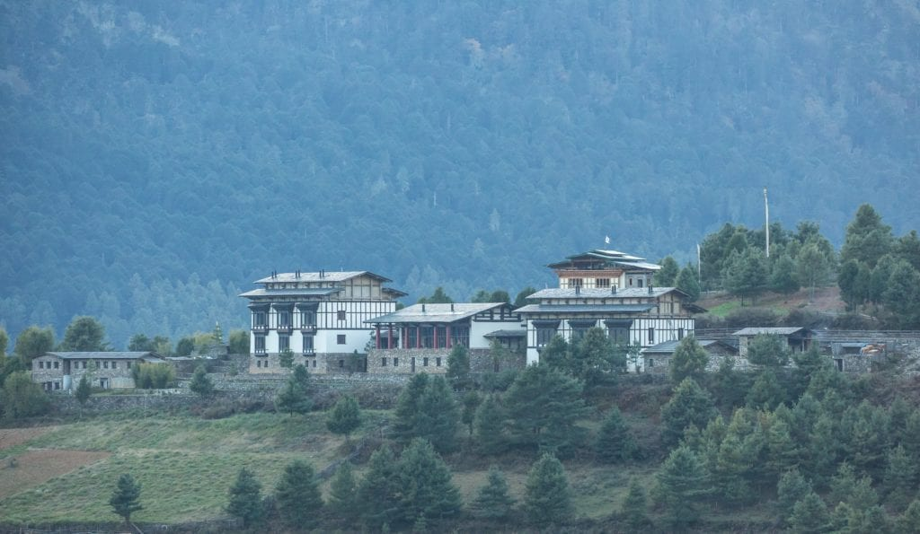 gangtey lodge from afar