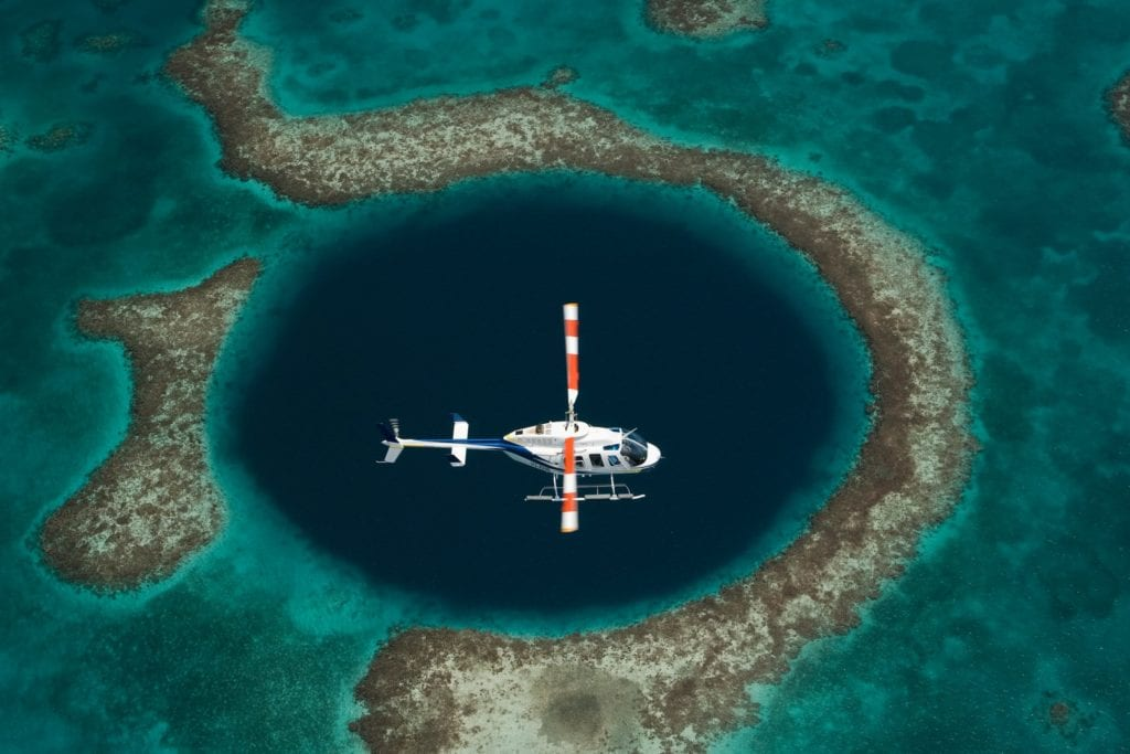 great blue hole aerial view helicopter