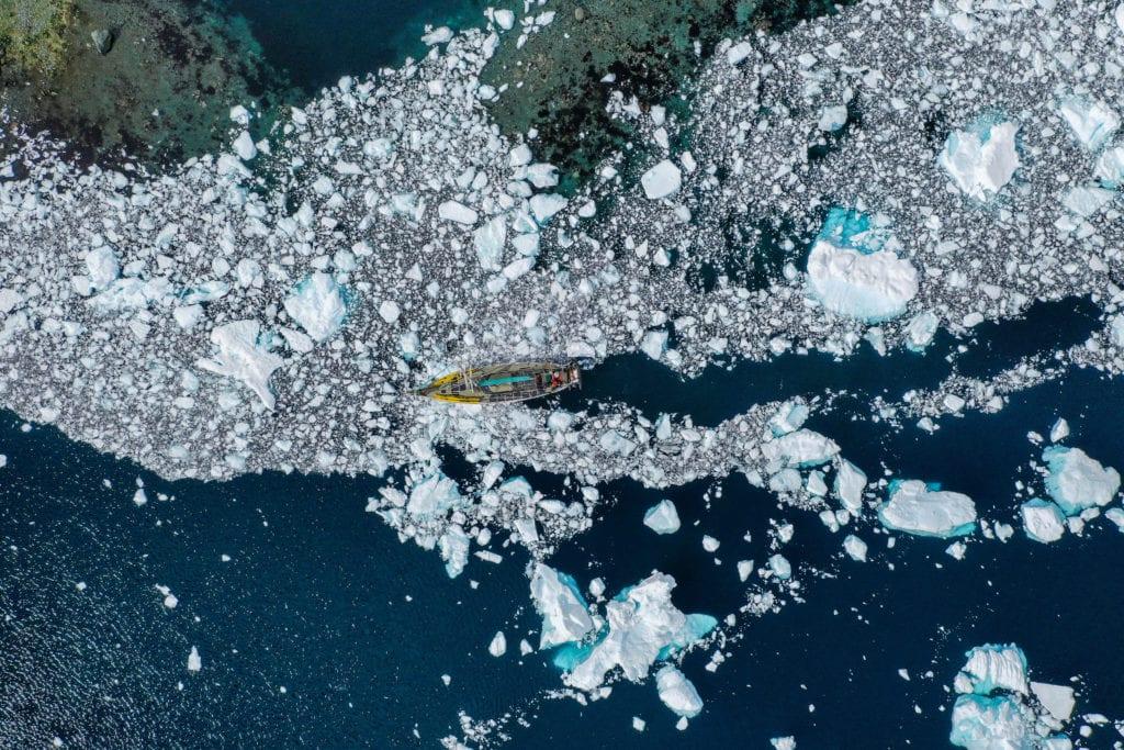 Greenland Fjord Yacht Icebreak Drone