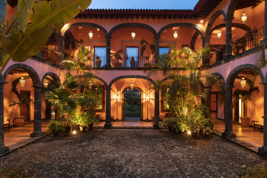courtyard at night hacienda de san antonio