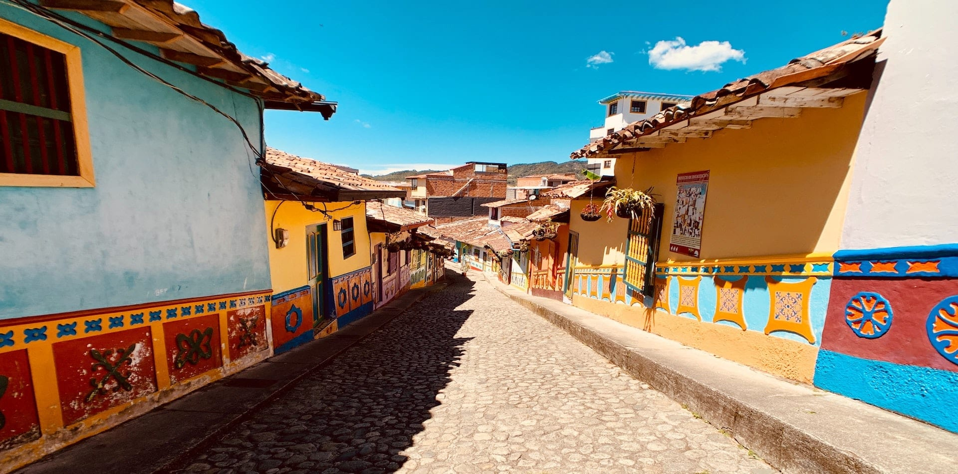 Cobbled, colourful street in Guatape, Colombia
