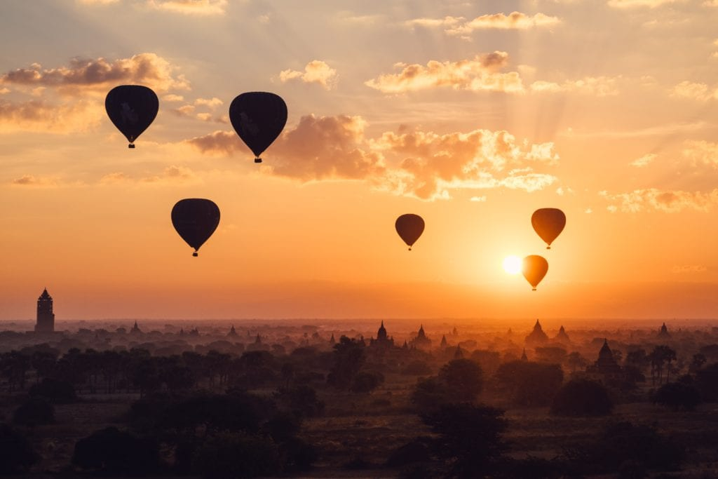 Hot Air Balloons Myanmar Sunset